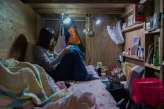 """Small living and tiny homes are a growing trend in some parts of the U., but these incredibly small living spaces in Japan make American tiny homes look positively spacious. In a series titled, """"Enclosed: Living Small,"""" photographer Won Kim… Tiny Guest House, Tiny House, Capsule Hotel, Micro Apartment, Tokyo Hotels, Small Living, Small Spaces, In This Moment, Interior Design"""
