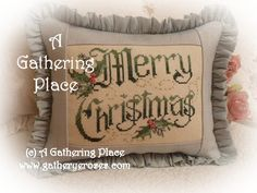 ~WE HAVE A WINNER - Merry Christmas Cross Stitch Pillow~