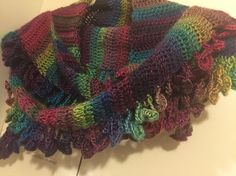 Unforgettable crochet scarf by bobwilson123.com on YouTube. Color is stained glass.
