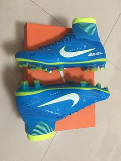 Nike Mercurial Superfly V NJR FG Blue Yellow White Soccer Shoes Mens 2017 202f04486