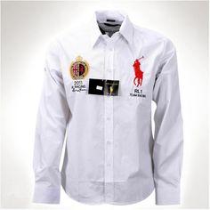 Ralph Lauren White Men Red Big Pony Long Sleeved Shirts http://www.