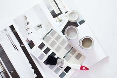 """Dascha of """"It's Dash"""" has a passion for fashion and interior design, in the process of decorating her new home, she found our new colour Worsted to be the perfect complement to a white room inspired by her light and bright moodboard."""