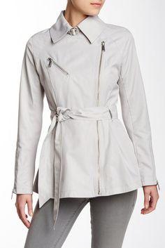 Short Asymmetrical Zip Trench Coat