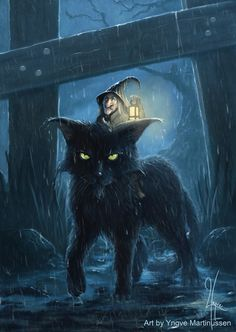 Halloween Black Cat with a little witch riding on its back in the rain of the night Halloween Pictures, Halloween Cat, Witch Pictures, Halloween Drawings, Halloween Night, Halloween Costumes, Illustration Inspiration, Image Chat, Arte Obscura