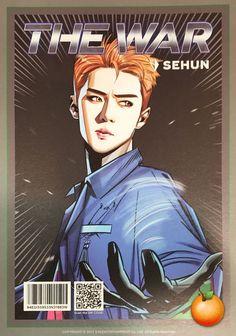 Sehun- The War Photoshoot Kpop Exo, Chanyeol Baekhyun, Kpop Anime, Fanart Bts, Exo Album, Exo Fan Art, The Power Of Music, Kpop Drawings, War Comics