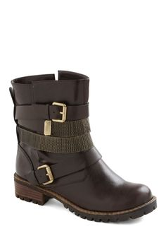 Buckle My Shoe Boot - Brown, Solid, Buckles, Casual, Fall
