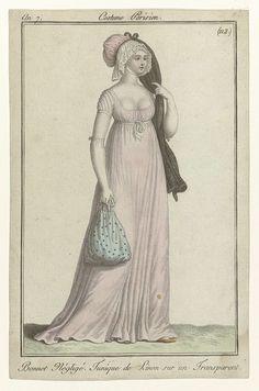 Journal des Dames et des Modes, Costume Parisien, 18 juin 1799, An 7 (112 bis) Bonnet Négligé..., Anonymous, 1799