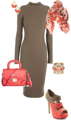 """""""Taupe and Coral"""" by erinlindsay83 on Polyvore"""
