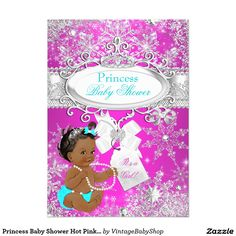 Princess Baby Shower Hot Pink Aqua Ethnic 5x7 Paper Invitation Card