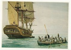 Mutiny On The Bounty Frigate Sailing Ship Tall Sails On Ocean by Duncan Harding
