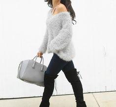 The HONEYBEE // Fuzzy Sweaters + OTK Boots