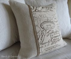 French Script & Vintage Grain Sack Cushion Cover With Burlap Trim
