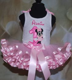 Minnie Mouse First Birthday Tutu Outfit 4 by LittleKeikiBouTiki, $89.95