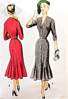 1950s AMAZING Dress Pattern McCALL 8289 Day or Cocktail Party V Neckline Slim Dress Mermaid Flounce Silhouette Bust 30 Vintage Sewing Pattern