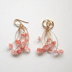 チェリークォーツの桜色ブーケピアス ピアス(その他) ハンドメイド通販・販売のCreema