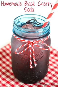 Homemade, Black Cherry Soda, layered drink recipe, Ball Mason Jars, Blue Mason Jars.