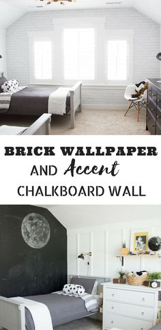 BRICK WALLPAPER AND ACCENT CHALKBOARD WALL | HOME PROJECT | ROOM RENOVATION  #renovation #roomrenovation