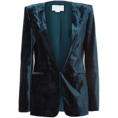 Genny Velour Blazer ($1,445) ❤ liked on Polyvore featuring outerwear, jackets, blazers, blue, long sleeve blazer, long sleeve jacket, blazer jacket, velour jacket and blue jackets