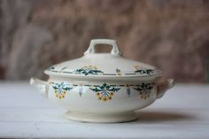 Vintage French Art Deco White Floral Ironstone Soup Server, Tureen, Serving Bowl, with Yellow and Green Flowers by FarmGateVintage on Etsy