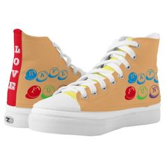 Original Me, Love, Have Fun, I'm Me is written on colorful Sneaker Shoes in fun fonts.  Unisex: 4-13 Men's, 6-15 Women's.  Canvas tops, rubber soles. ZIPZ® shoes are interchangeable!  Top cover can be zipped on and off to easily switch up your style on the go. Rubber soles are manufactured with extra cushioned insoles and a specially designed arch support system to give your feet a comfortable and healthy fit.  Original Text Saying Design by TamiraZDesigns via…