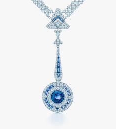 A rare, unenhanced 5.0-carat Montana sapphire plays a starring role in this Art Deco necklace from the Tiffany Blue Book Collection.