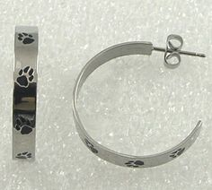 Paw Print Hoop Earrings Stainless Steel Puppy Dog Cat Silver  #Unbranded #DropDangle