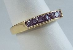 Ladies Amethyst CZ w/Hearts ~18K Yellow Gold Overlay Ring~ Size 6- Free Gift Box