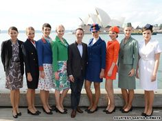 Martin Grant takes the reigns from Peter Morrisey for Qantas. Injecting his distinct Parisian influence, Martin Grant joins Yves Saint Laurent and Emilio Pucci among others. Anzac Day Australia, Stewardess Costume, Different Airlines, Airline Uniforms, Australian Fashion Designers, Best Airlines, Air New Zealand, Cabin Crew