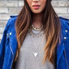 fashion cobalt blue leather jacket layered necklaces