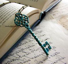 Skeleton Key necklace Antique Key Verdigris Vintage by WhiteTeapot, $30.00