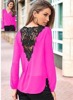 Korea style plus size blouses Long sleeve blusas chiffon lace patchwork shirts women clothes summer Womens tops new fashion 2017