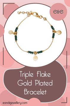 Triple Flake Gold Plated Bracelet: Minimal gold flakes are brilliantly complemented by gold-plated and forest green crystal beads, leaving a part of the chain exposed to create a discreet accessory that you can layer with other bracelets or wear by itself. #GoldPlatedBracelets #Bracelets Gold Plated Bracelets, Gold Plated Necklace, Crystal Necklace, Crystal Beads, Bangle Bracelets, Crystals, Bridesmaid Bracelet, Stone Earrings, Green And Purple