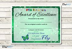 PTA Reflections Certificate 2015-2016 Digital by DelARTDesigns