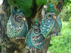Купить Колокольчики Совы - темно-бирюзовый, яркий, колокольчики, керамика ручной работы