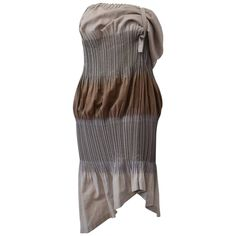 Issey Miyake FETE, Grey and Brown Asymmetric Pleated Dress with Adjustable Strap…