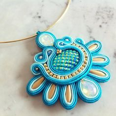 Blue soutache pendant Shell Pendant  by LaviBijoux on Etsy