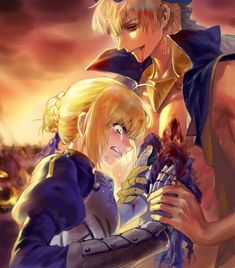 Would Artoria from Fate stay night accept Caster Gilgamesh? Fate Stay Night Series, Fate Stay Night Anime, Fate Zero, Sad Anime, Anime Art, Gilgamesh And Enkidu, Arturia Pendragon, Fate Servants, Fate Anime Series