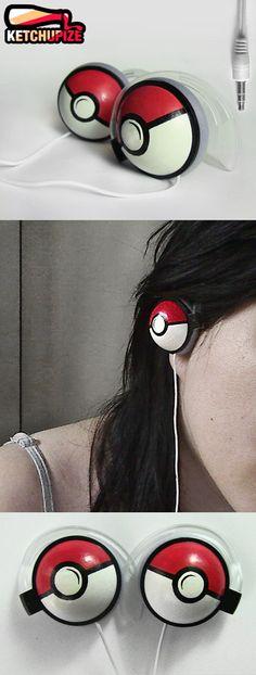 Pokephones Headphones earphones red by ketchupize on Etsy, €25.00