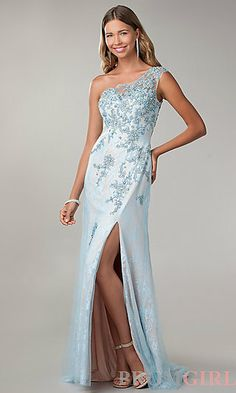 87d8837b6f One Shoulder Floor Length Lace Embellished Dress at PromGirl.com Pageant  Gowns