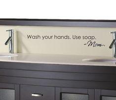 Wash your hands Love Mom bathroom Vinyl Wall Decal. $14.00, via Etsy.