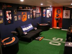 Beautifully furnished...Bears themed Man Cave. - now, how to make this baseball oriented...