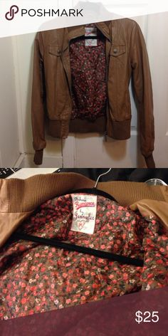 Brown/Tan leather jacket Super cute leather jacket. Surprisingly warm as well! Size M but the jacket is not very long so could fit a S Jackets & Coats