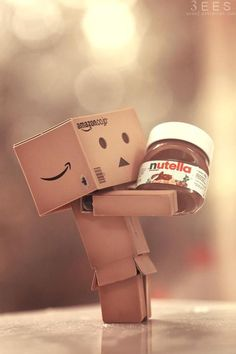 ImageFind images and videos about chocolate, nutella and danbo on We Heart It - the app to get lost in what you love. Danbo, Pirouette Cacahuete, Cardboard Robot, Box Robot, Amazon Box, Cute Box, Thinking Outside The Box, Little Boxes, Cute Wallpapers