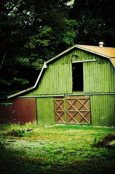 Fine Art Nature Photography, Green Barn Photo, Rustic Country Home Decor, Pennsylvania Countryside, Fall, Autumn, Farm Print, Wall Art