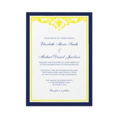 Blue and yellow invitation if only blue and coral