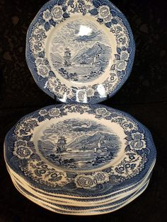 """Royal Warwick of England, Lochs of Scotland, 10"""" Dinner Plates, Cobalt Blue and White Transferware, Sailing Ships, Thistle, 4 Available Unicorn Logo, Kitchen Ware, Punch Bowls, Pattern Names, China Dinnerware, Hand Engraving, Purple Amethyst, Cobalt Blue, Dinner Plates"""