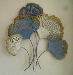Wanddecoratie 3D metaal ginkgo Biloba Coral - Muurdecoratie Bomen - WANDDECORATIE METAAL | DEKOGIFTS