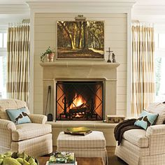 24 Cozy Ideas for Fireplace Mantels | Comforting Fireplace Mantels | SouthernLiving.com