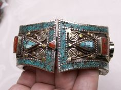 Vintage Nepalese turquoise and coral bracelet, Tribal silver, tribal bracelet, ethnic jewelry