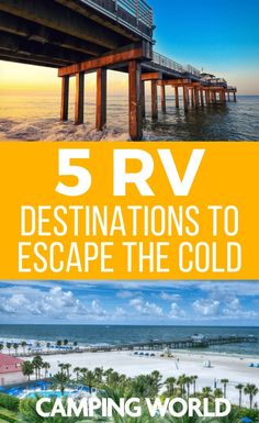 Are you looking to escape the cold and have some fun in the sun this winter? Try these amazing spots for an RV Winter vacation. East coast west coast and in betweenweve got you covered with the best winter camping RV travel destinations in the US. Camping Places, Van Camping, Camping World, Family Camping, Camping Cabins, Camping Trailers, Beach Camping, Camping Resort, Rv Travel